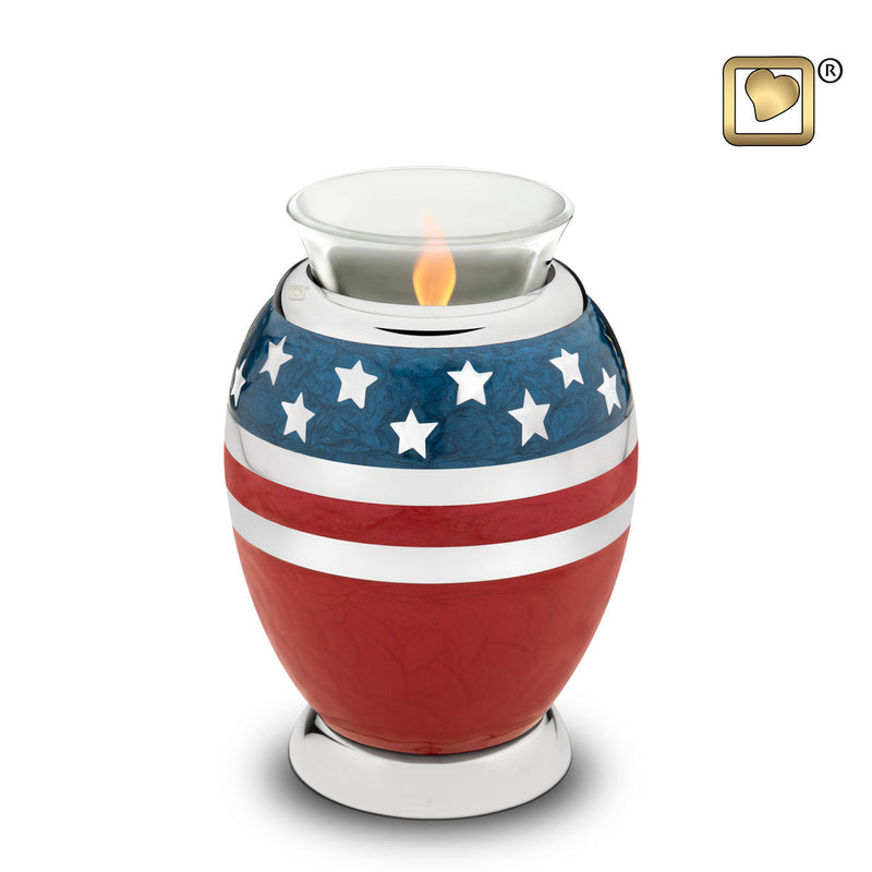 Stars & Stripes American Flag Heart Funeral Cremation Urn, 3 Cubic Inches