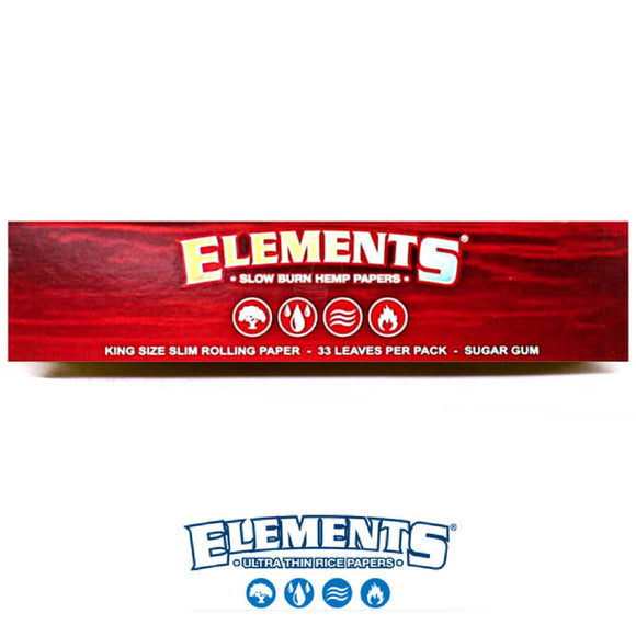 Elements Red king size slim Rolling/Smoking paper