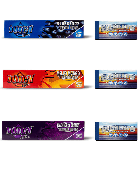 Assorted Juicy Jay Rolling Papers + Element wide filter tips/roach - Set Of 6