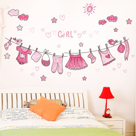 % Home Decor Hang Kleren Behang Decal Mural Wall Art Nursery Kids Baby Kind Slaapkamer Decor Zelfklevende Muursticker Decal