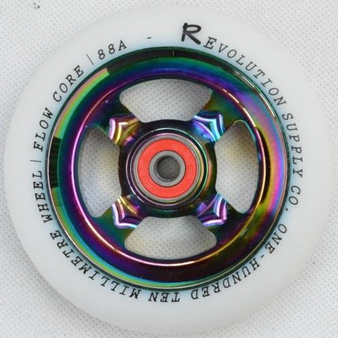 Revolution Scooter Flow Core 110mm Wheel, White / Neo Chrome