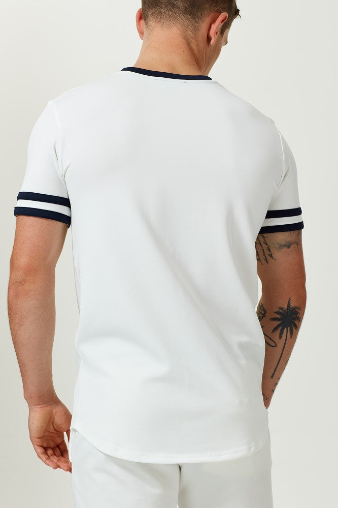 WHITE T-SHIRT WITH CHEST PRINT AND CONTRAST STRIPE NECK
