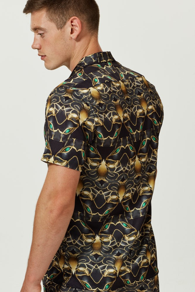 BLACK PANTHER PRINT SHORT SLEEVE CUBAN SHIRT