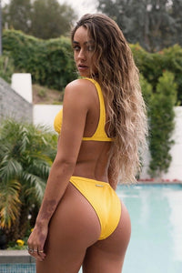 Ribbed High Cut Strap Bikini Bottom - Yellow