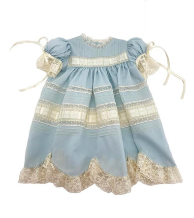 Treasured Memories Blue Dress w/ Ecru Lace & Ribbon X0101 B/E