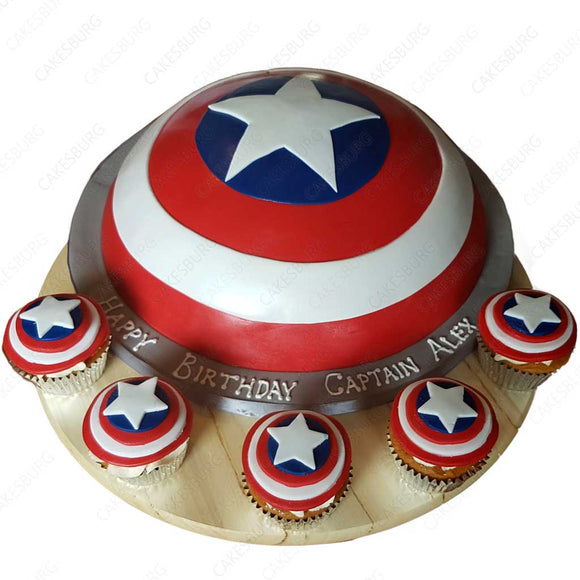 Captain America Shield Cake with 12 Cupcakes