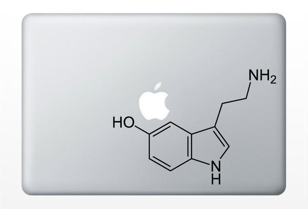 Serotonin Compound Molecule laptop DECALS- macbook iPad computer- chemical structure- vinyl sticker