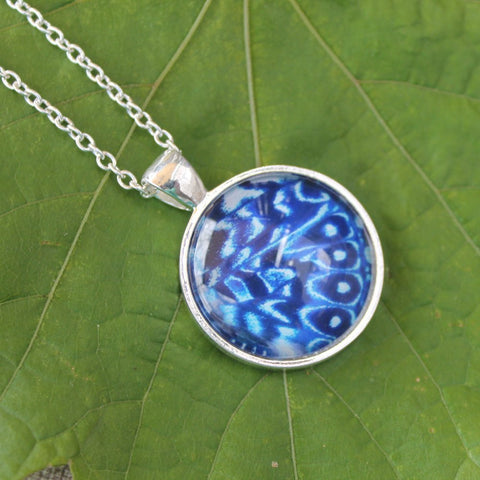 Cracker Butterfly Wing Necklace, Blue Butterfly Pendant Necklace, Silver Butterfly Necklace, Picture Pendant with Butterfly, Entomology