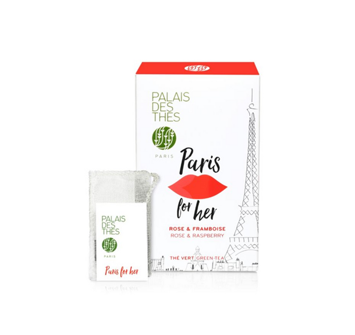 Palais Des Thes - Paris For Her (Green tea with rose, raspberry and lychee) - Box of 20 Sachets