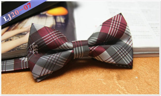 Wine Plaid Bowtie