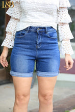 Denim Mid-Wash Shorts