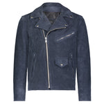 Moto Jacket in Navy Calfsuede