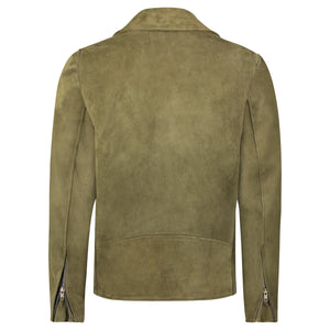 Moto Jacket in Olive Calfsuede