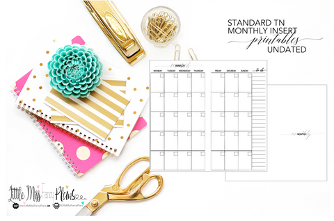UNDATED Monthly Calendar TN Planning Inserts <Printables> | Standard Travelers Notebook