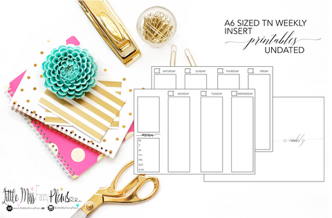 UNDATED Weekly Calendar TN Planning Inserts <Printables> | A6 Travelers Notebook