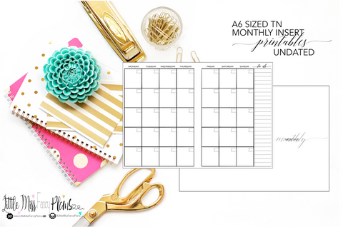 UNDATED Monthly Calendar TN Planning Inserts <Printables> | A6 Travelers Notebook