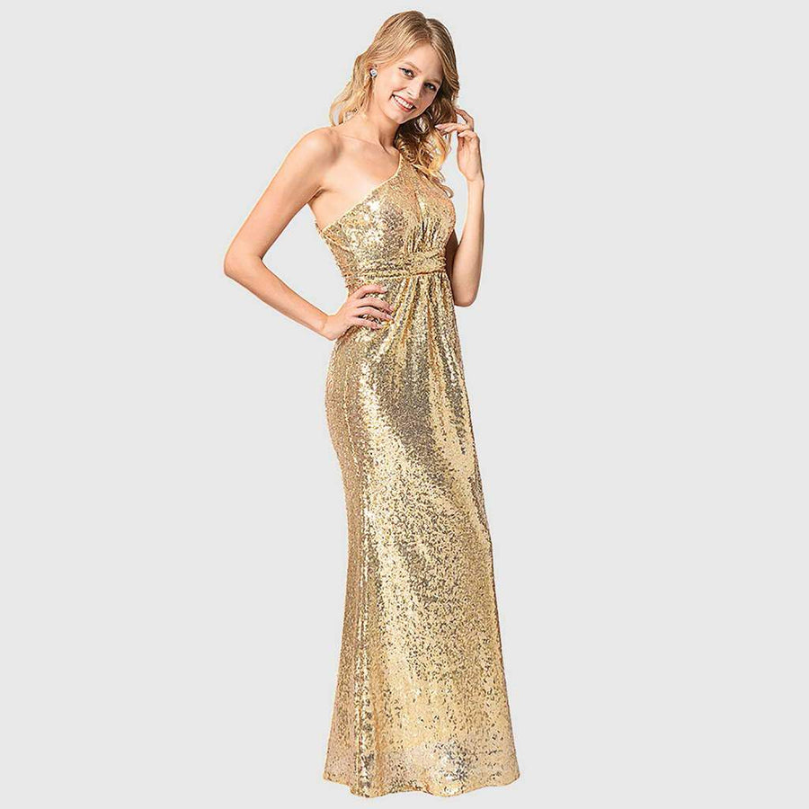 Robe Brillante Dorée Empire Longue à Une Bretelle de Cocktail