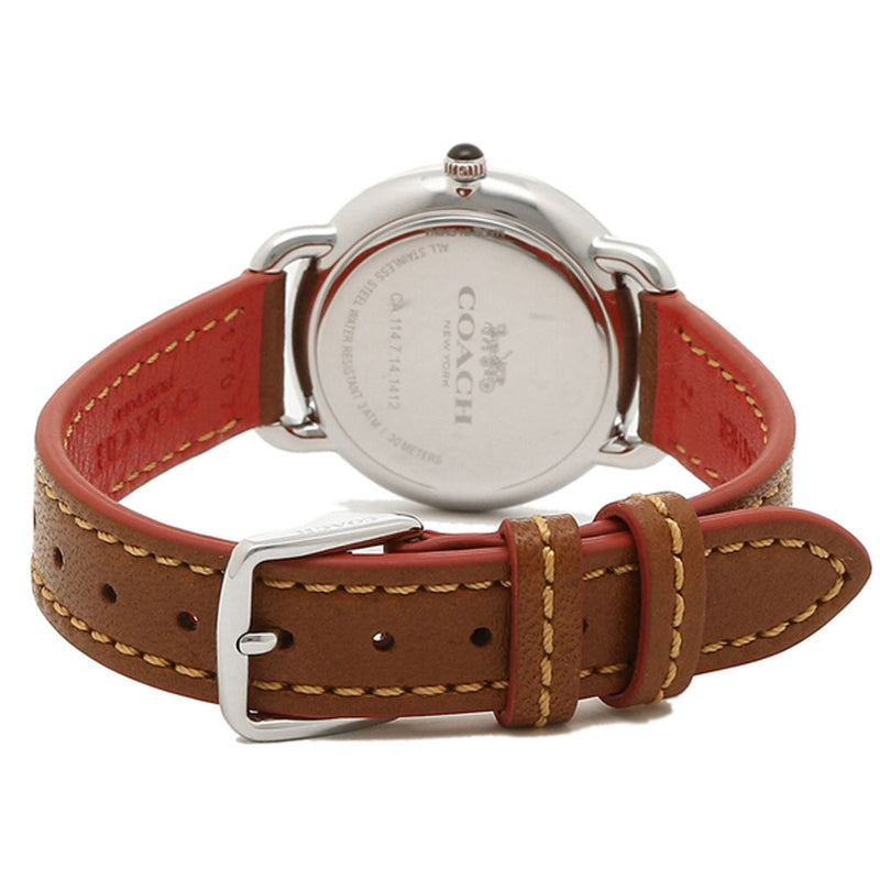 COACH DELANCEY ANALOG QUARTZ SILVER STAINLESS STEEL 14502789 BROWN LEATHER STRAP WOMEN'S WATCH