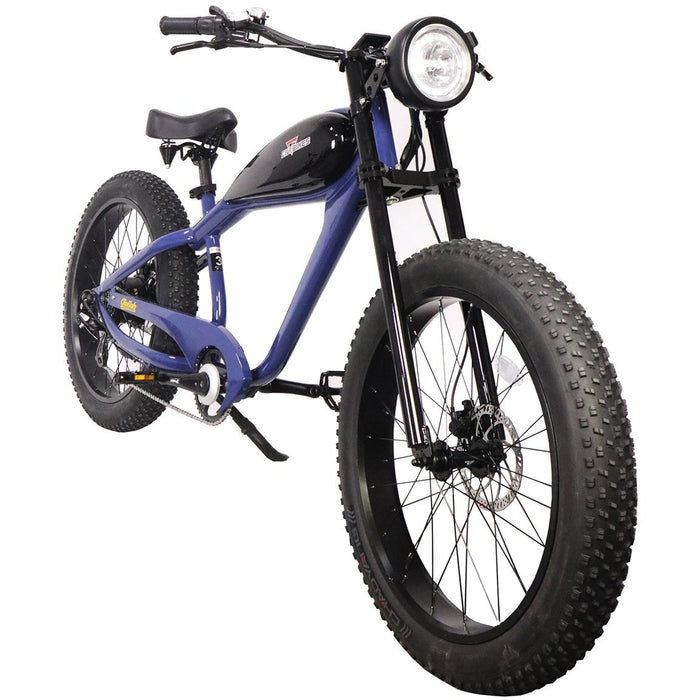 Civi Bikes Cruiser Classic Blue / None / None Civi Bikes Cheetah Vintage-Style Electric Fat Bike Electric Bicycle USA