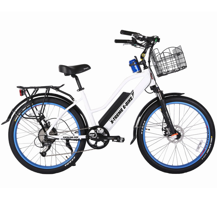 X-Treme Cruiser Metallic White / None X-Treme Catalina Stepthrough Beach Cruiser Electric Bike Electric Bicycle USA