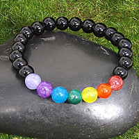 Chakra Energy Healing Bracelet for Grief and Protection on Black Stone