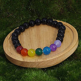 Chakra Energy Healing Bracelet for Grief and Protection on Wood