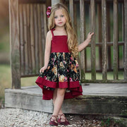 Asymmetrical Spaghetti Strap Floral Girl Toddler Dress Dresses Kids Now Apparel