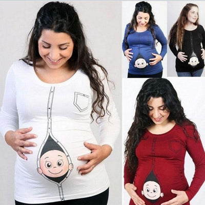 Cute Baby Peeking Out Funny Maternity Shirts Kids Now Apparel