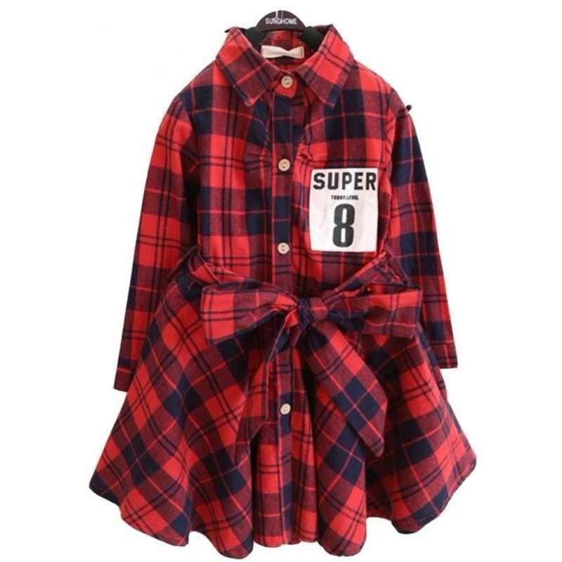 Flannel Print Flare Kids Long sleeve dress With Belt Kids Now Apparel