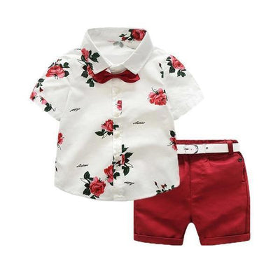 Floral Print Shirt + Shorts Children Clothing Set Baby Boy Summer Clothes Clothing Sets Kids Now Apparel