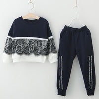 Lace Top+Long Pants Girls Clothing Set Clothing Sets Kids Now Apparel