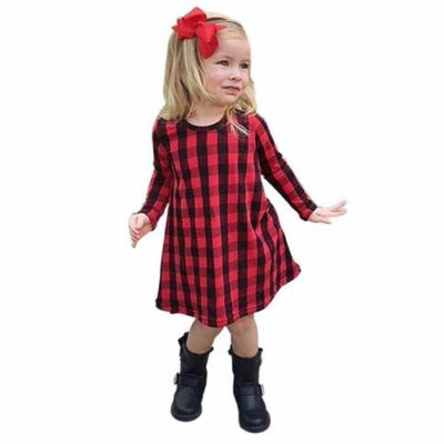 Red Plaid Asymmetric Casual Girls Dress Kids Now Apparel