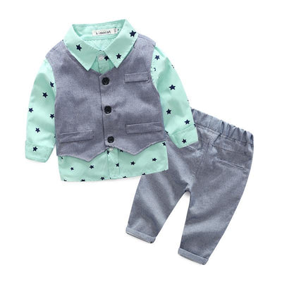 Shirt+Vest+Casual Pants Baby Boy Outfit Clothing Sets Kids Now Apparel