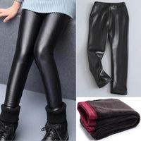 Warm Velvet Faux Leather Leggings For Girls Kids Now Apparel