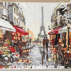 Paint By Numbers For Adults | Rainy Paris Street- Custom Paint By Numbers Kits ®