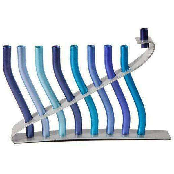 Aluminum Menorah Blue Wave Design by Yair Emanuel-Israel-Cart