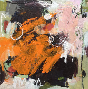 orange-black abstract painting