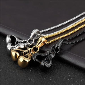 Boxing Gloves Necklace Stainless Steel Pendant for Fitness