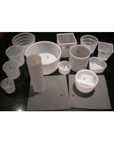 CHEESE MAKING MOLD KIT - 13 MOLDS PLUS 2 CHEESE MATS