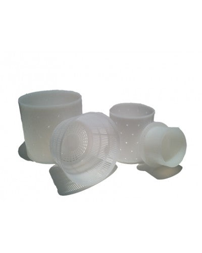 SET OF 3 ASSORTED MOLDS FOR CHEESEMAKING- CYLINDER, RICOTTA, MOLD WITH FOLLOWER
