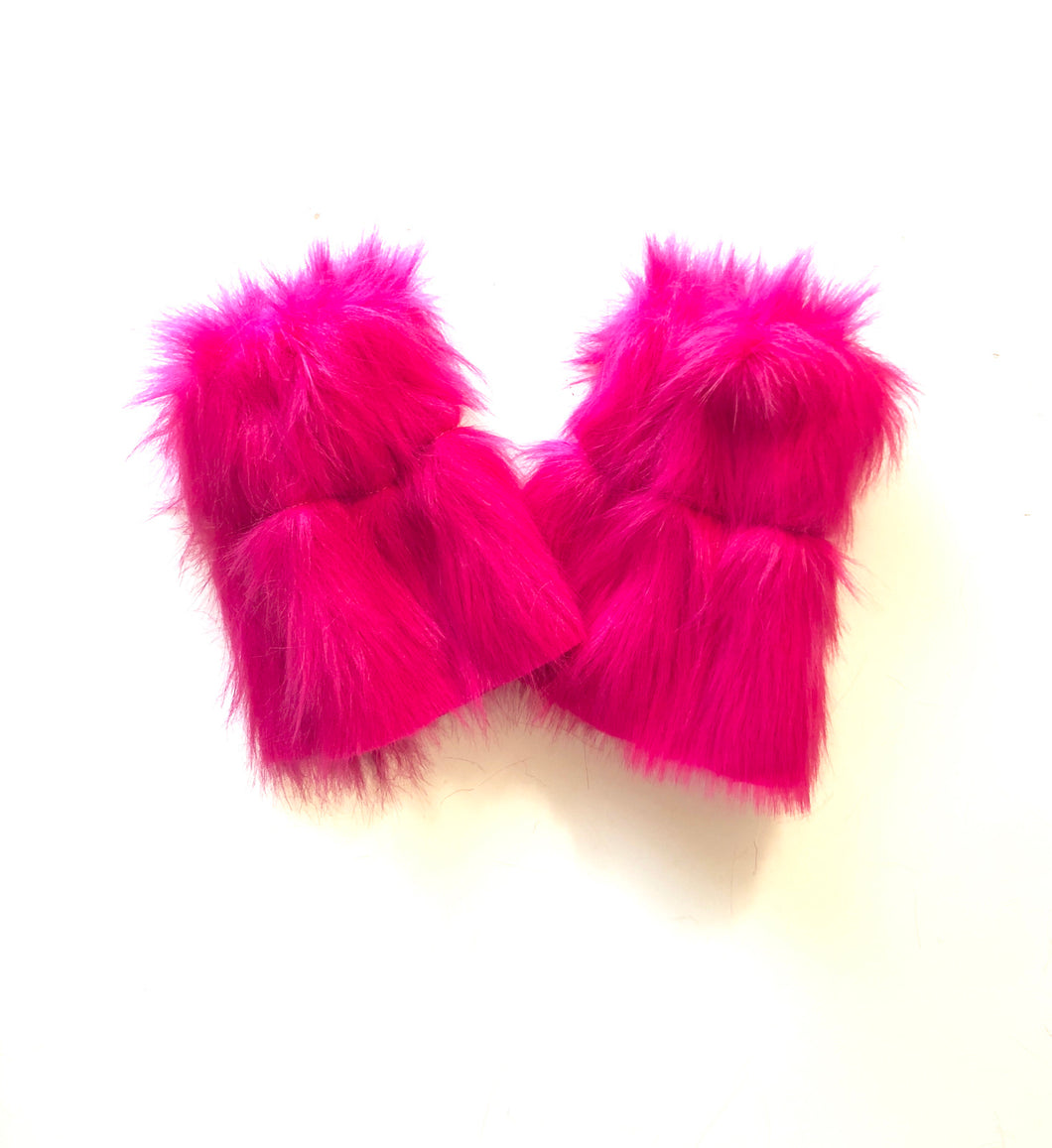 READY TO SHIP Magenta Fur Leg Warmers