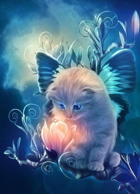 Butterfly Kitten  Cat - 5D Diamond Painting - 5D Diamond Painting - DIY Kits