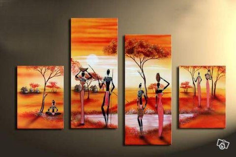 African Woman Painting, 4 Piece Canvas Art, Abstract Art, Oil Painting for Sale - Art Painting Canvas