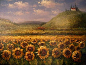 Canvas Art, Sunflower Painting, Large Art, Flower Field, Wall Art, Landscape Painting, Kithchen Wall Art, Large Canvas Art, Oil Painting, Canvas Wall Art - Art Painting Canvas