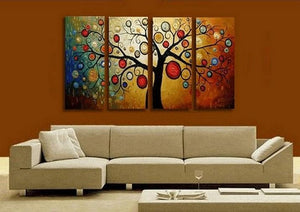 Abstract Painting, Tree of Life Painting, Abstract Art, 4 Piece Canvas Art, Contemporary Art, Modern Art - Art Painting Canvas