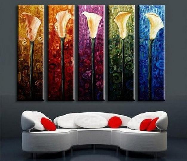 Abstract Art, Calla Lily Painting, Flower Art, Canvas Painting, Abstract Painting, 5 Piece Wall Art, Acrylic Art, Ready to Hang - Art Painting Canvas