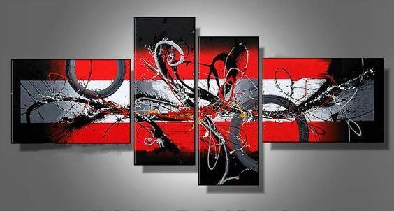 Abstract Art, Black and Red Wall Art, Modern Art, Extra Large Wall Art - Art Painting Canvas