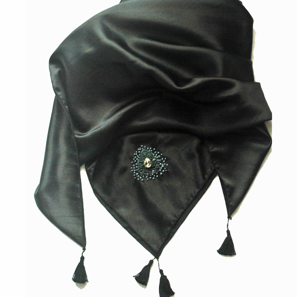 Embellished Black satin scarf