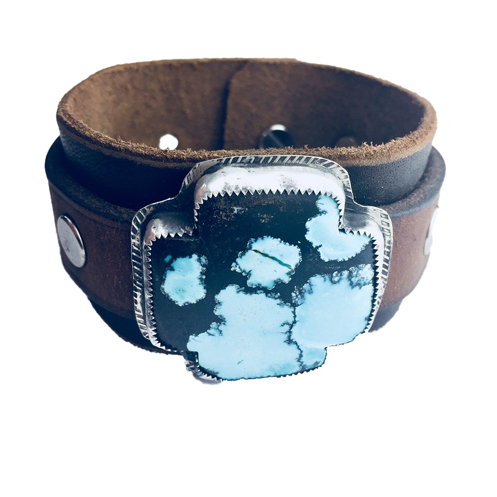 Turquoise Cross on Double Leather