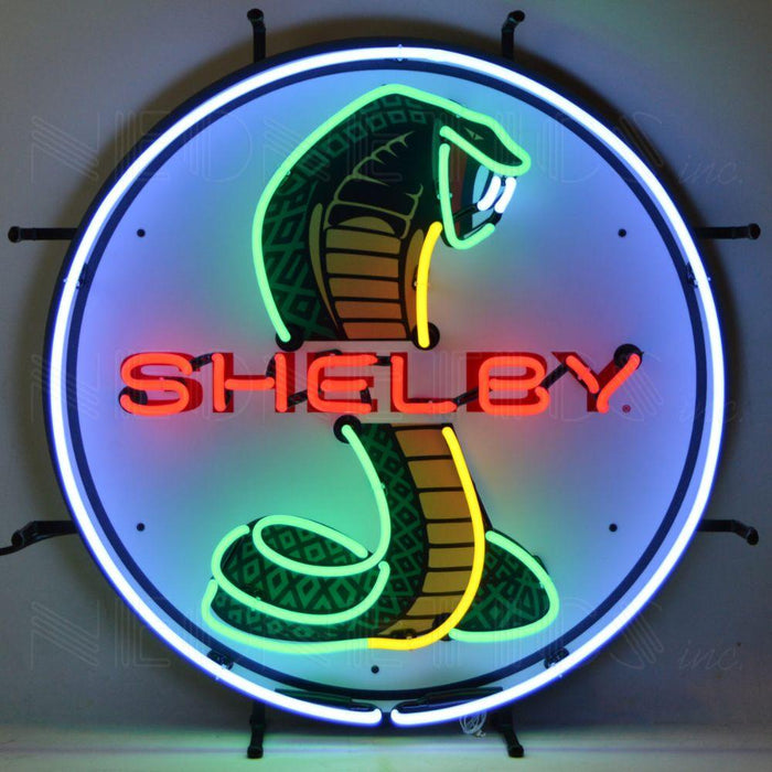 SHELBY COBRA CIRCLE NEON SIGN WITH BACKING
